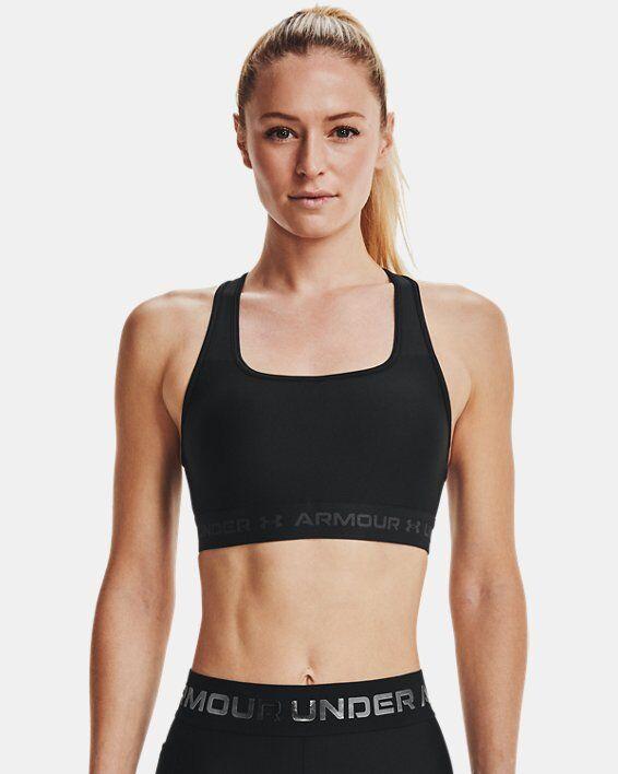 Under Armour Women's Armour Mid Crossback Sports Bra  - Black - Size: SM