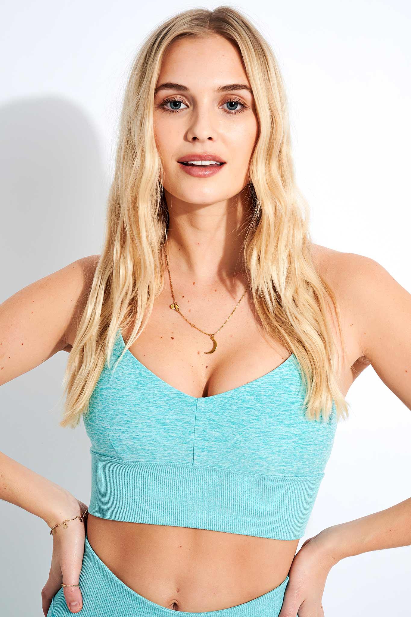 Alo Yoga Alosoft Lavish Bra - Blue Quartz Heather - S