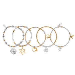 ChloBo GMBSTA5IS Women's Two Tone Stack Of 5 Bracelets