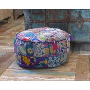 New Overseas Traders Midnight Blue Patchwork Pouffe