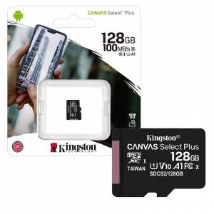 Kingston Canvas Select Plus Micro SD SDXC Memory Card Class 10 UHS-1 100MB/s A1 - 128GB