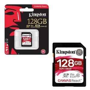 Kingston SD SDXC UHS-I U3 Canvas React 100MB/s Class 10 V30 Memory Card for 4K HD - 128GB