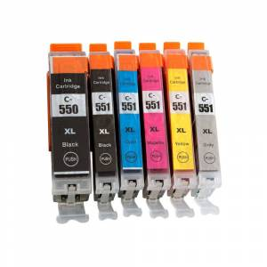 Canon 7dayshop Non-OEM PGI-550XL/CLI-551XL Black & Colour Ink Cartridge 6 Pack (incl. Grey) For Canon