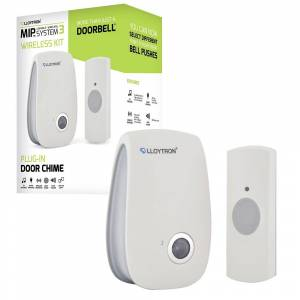 Lloytron MIP3 Wireless Door Bell and Chime Kit 32 Melody Mains Chime Unit - White