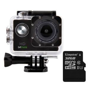 Bitmore AKTIVCAM 1080P HD Action Camera Kit with 30M Waterproof Case PLUS a 32GB Micro SD Card