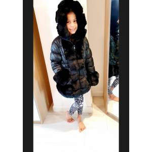 Bows Boutiques Tilly Kids Black Faux Fur Padded Puffer Belt Detail Hooded Coat