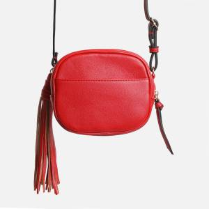 EGO Tassle Detail Circle Cross Body Bag In Red Faux Leather,, Red