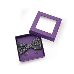 Savile Row Company Navy Patterned Silk Bow Tie & Cufflink Set