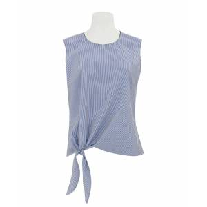 Savile Row Company Women's White Blue Stripe Semi-Fitted Tie Front Sleeveless Shirt 8