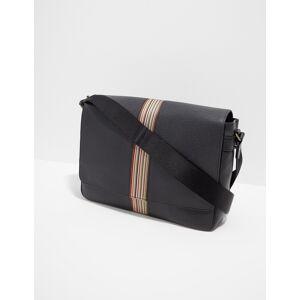 PS Paul Smith Mens PS Paul Smith Leather Stripe Messenger Bag Black, Black  - Black - Size: One Size