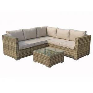Signature Weave Georgia Compact Corner Sofa Set With Coffee Table Mixed Brown