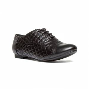 Lilley Womens Black Lace Up Textured Brogue Shoe