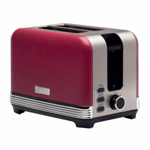 Haden Chiltern 2 Slice Toaster Berry or Chalk Blue Retro Style Coated Stainless Steel Wide Slot Browning Control Removable Crumb Tray