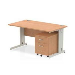 Impulse 1400x800mm Desk Oak Silver Cable Managed Leg and Mobile Ped