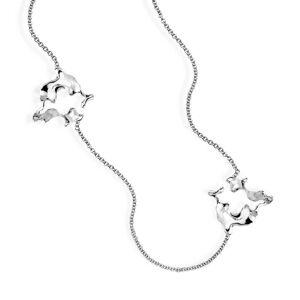Hazel NY 14kt White Gold Coral Eddy Wavy Chain Necklace(White)