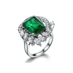 Silver Yulan Square Cut Emerald Diamond Accent Ring - UK O - US 7.25 - EU 55.1()