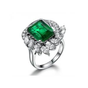 Silver Yulan Square Cut Emerald Diamond Accent Ring - UK I - US 4.5 - EU 48()