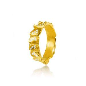 Hazel NY 18kt Yellow Gold & Diamonds Gator Stack Ring - UK O - US 7.25 - EU 55.1()
