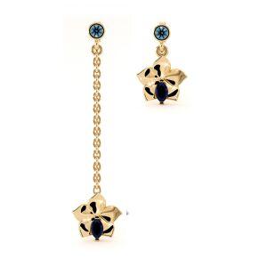 Dexter Augustus Ltd Yellow Gold Sapphire & Blue Topaz Orchid Drop Earrings(Gold)