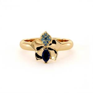 Dexter Augustus Ltd Yellow Gold Diffusion Sapphire & Blue Topaz Orchid Ring - UK N - US 6.75 - EU 53.8(Gold)