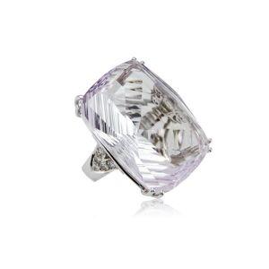 Cherie Thum Fire and Ice Fancy-cut Rectangular Cushion Pink Amethyst Ring - UK L 1/2 - US 6 - EU 51.9()