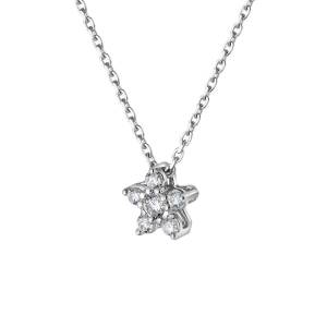 DRAJÉE London 18kt White Gold Star Diamond Necklace(Silver)