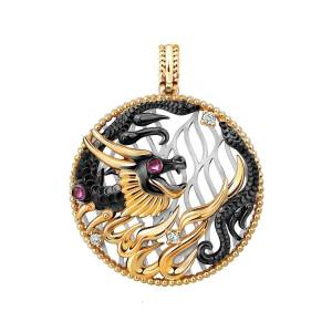 Chekotin Jewellery Gold, Ruby & Diamond Fire Element Dragon Pendant   Chekotin Jewellery()