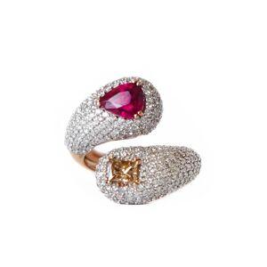 RI NOOR 18kt Rose Gold Intertwined Rubellite & Fancy Diamond Ring - UK Q - US 8.25 - EU 57.6()