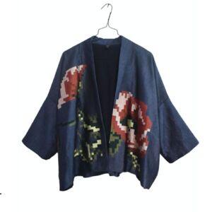 La Bonne Étoile Dream Pixel Silk Kimono(Blue)
