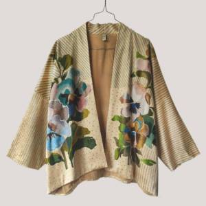 La Bonne Étoile Dream Flower Silk Kimono(Cream)