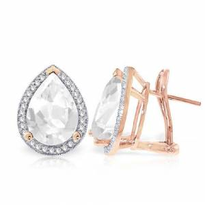 QP Jewellers White Topaz French Clip Earrings 11.22 ctw in 9ct Rose Gold