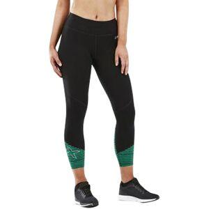 2XU Fitness Mid Colour lBlock 7/8 Tight Black / Golf Green Stripe