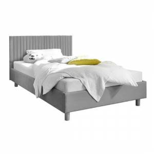 Furniture In Fashion Altair Grey Fabric King Size Bed With Stripes Headboard