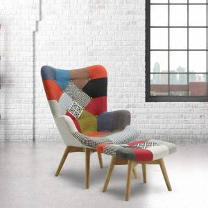 Furniture In Fashion Kendal Arm Chair With Stool In Patched And Wooden Legs