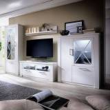 Furniture In Fashion Gerald Living Room Furniture Set In White Pine With LED