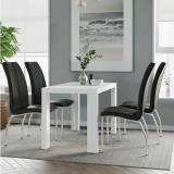 Furniture In Fashion Joule Dining Set In White Gloss With 4 Black Boston Chairs