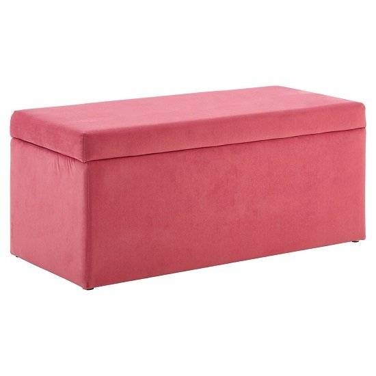 Furniture In Fashion Cabane Kids Ottoman In Pink Velvet With Wooden Legs