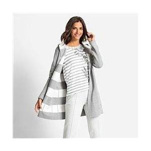 Olsen Reversible Cardigan With Hood Grey  - Grey - Size: 18