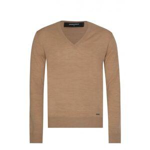 DSQUARED2 V-Neck Fine Knit Tan Jumper