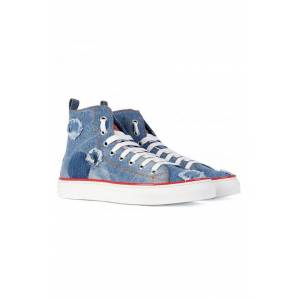 DSQUARED2 Distressed Denim High Top Sneakers