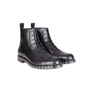 Valentino Garavani Rockstud Sole Leather Combat Boots Black
