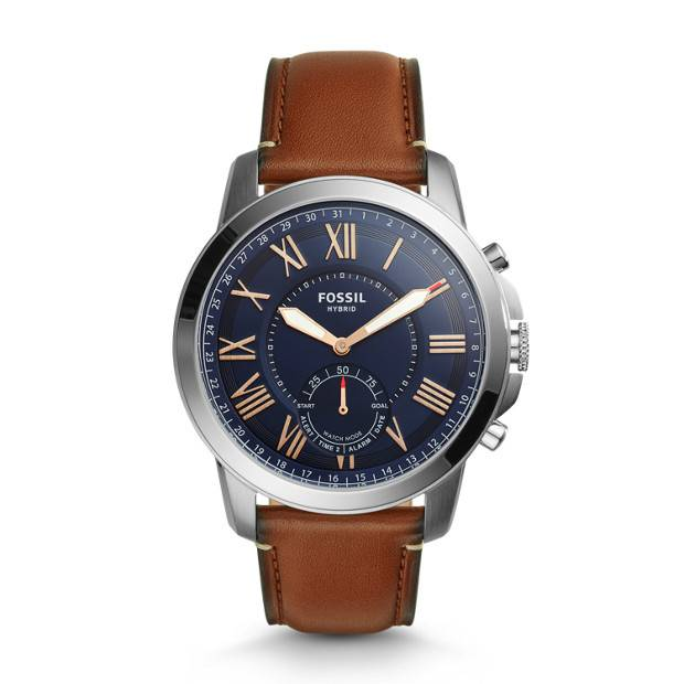 Fossil Men Hybrid Smartwatch - Grant Light Brown Leather Silver - One size