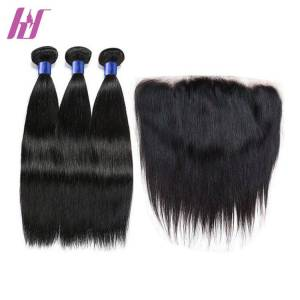 10A Virgin  Peruvin Hair Bundles With Lace Frontal,Human Hair 3 Bundles With 13x4 Lace Frontal