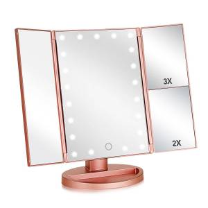 Amazon Cosmetic LED Mirror Makeup Private label Top Sale Trifold Vanity Lighted USB Rechargeable Table Top Make Up Mirror