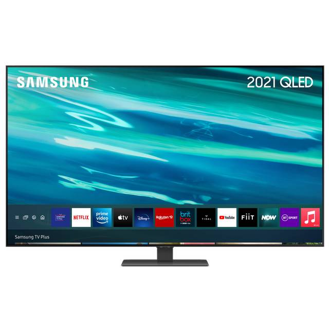 """Samsung QLED QE55Q80AA 55"""" Smart 4K Ultra HD TV With 100% Colour Volume, With Quantum Processor 4K and Apple TV App"""