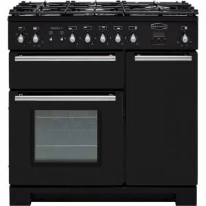 Rangemaster Toledo + TOLP90DFFGB/C 90cm Dual Fuel Range Cooker - Black / Chrome - A/A Rated