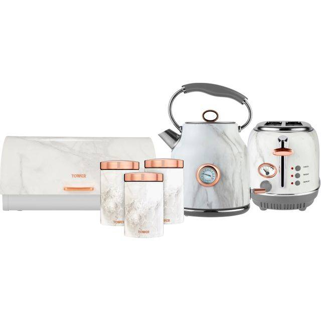 Tower AOBUNDLE017 Kettle And Toaster Set - Marble