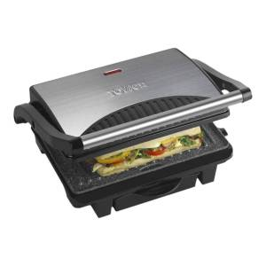 Tower T27009 Ceramic Health Grill & Griddle - Stainless Steel
