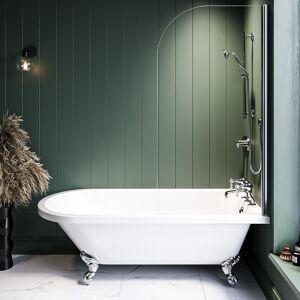 Better Bathrooms Park Royal Single Ended Shower Bath with Chrome Feet and Bath Screen