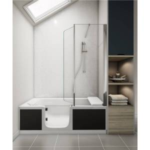Saniflo Kineduo Left Handed Walk-In Shower Bath with Screen and Black Panel 1700 x 750mm - Recess Installation
